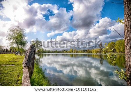 Tuscany lake in easter day - stock photo