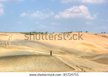 Tuscany landscape, Crete Senesi hills, Italy, hdr - stock photo