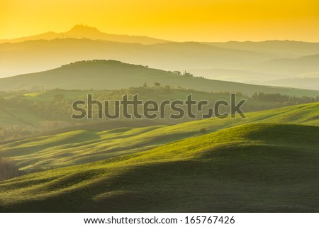 Tuscany landscape in the sunrise