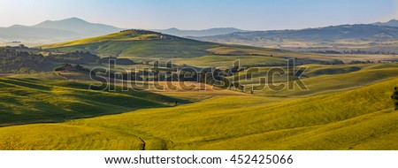Tuscany landscape panorama at sunrise