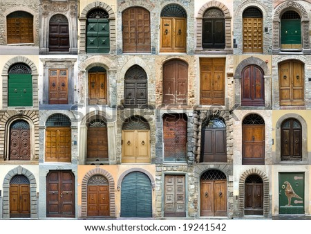 Tuscany old elegant obsolete vintage doors entrance collection - stock photo
