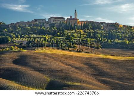 Tuscany, Pienza italian medieval village. Siena, Val d Orcia, Italy. - stock photo