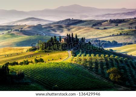 Tuscany - scenic landscape, Italy - stock photo