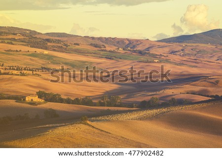 Tuscany,Val d'Orcia,october 2015:Tuscan autumn landscape,retro colors, vintage