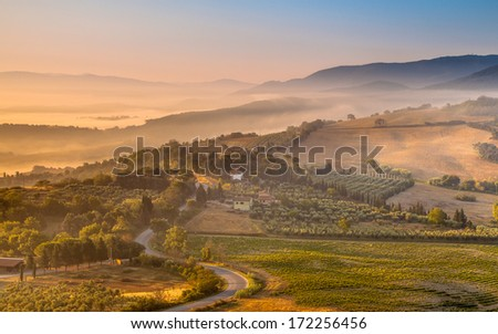 Tuscany Village Landscape near Florence on a Foggy Morning, Italy - stock photo