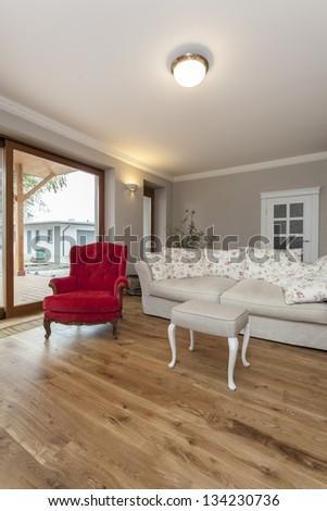 Tuscany - vintage interior with bright sofa - stock photo