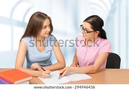 Tutor, Teacher, Student. - stock photo