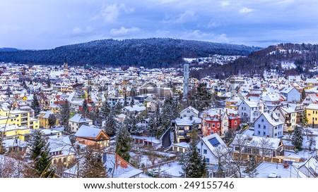 Tuttlingen Winter Panorama in Baden Wurttemberg, Germany - stock photo