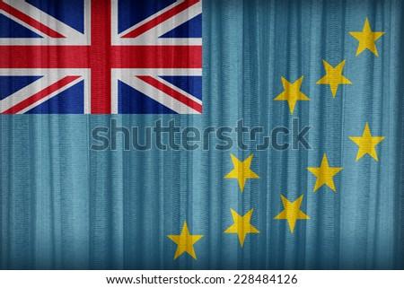 Tuvalu flag pattern on the fabric curtain,vintage style - stock photo