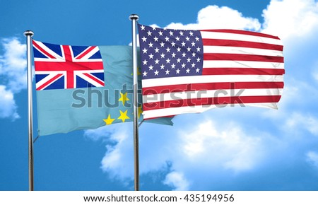 Tuvalu flag with American flag, 3D rendering