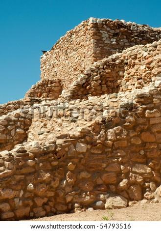 Tuzigoot native american indian ruin walls and tower - stock photo