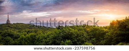 TV and GSM Transmitter at Sunset on Zobor Mountain, Nitra, Slovakia - stock photo