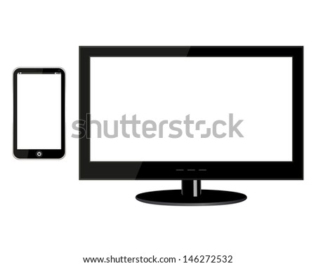 TV and mobile phone - stock photo