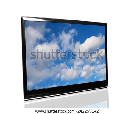 tv and sky - stock photo