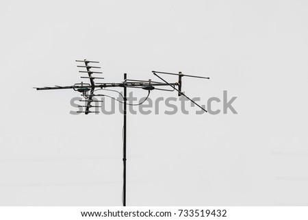 Tv Antenna Installation On The Roof.