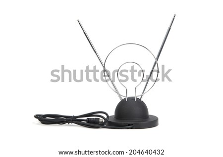 tv antenna isolated on white - stock photo
