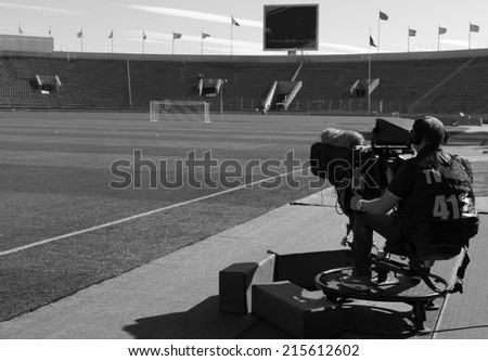 TV at the soccer  - stock photo