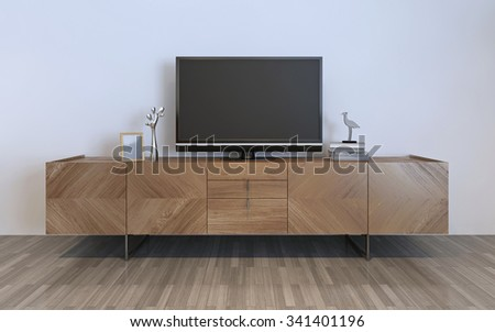 TV cabinet with plasma and decorations, brown ikea cabinet with silver decorations and frame on it. 3D render - stock photo