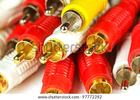 TV connectors on a white background - stock photo
