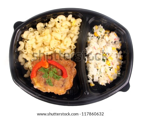 TV dinner with pasta - stock photo