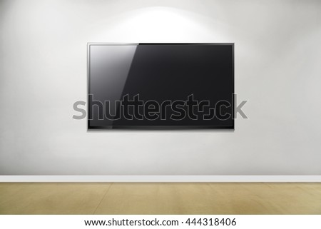 TV flat screen lcd on the wall, plasma. Black HD monitor mock up. Modern multimedia panel with black screen. Good way to show your business presentation on flat display. - stock photo