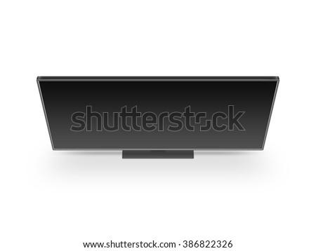 TV flat screen lcd, plasma realistic illustration, tv mock up. Black HD monitor mockup. Modern multimedia panel black screen mock-up. Top view of flat display tv set. Telly from above.  - stock photo