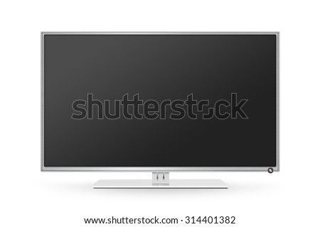 TV flat screen lcd, plasma realistic illustration. White HD monitor mock up. Modern multimedia panel black screen mockup. Good way show business presentation on flat display mock-up. Tv set stand. - stock photo