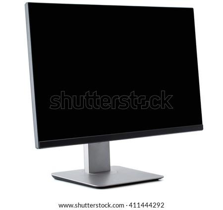 TV flat screen lcd, plasma, tv mock up. Black HD monitor mockup. Modern video panel black screen mock-up. Widescreen show your business presentation on flat, display tv set, clipping part - stock photo
