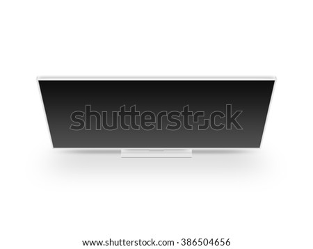 TV flat video screen lcd, plasma realistic illustration, tv mock up. White HD monitor mockup. Modern multimedia led panel black screen mock-up. Top view of flat cinema display tv set. Telly from above - stock photo