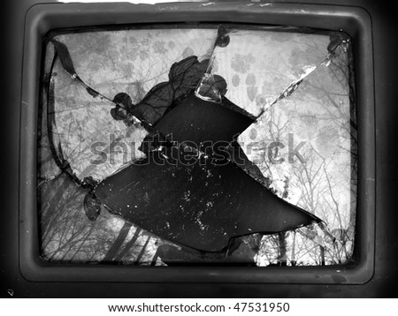 TV  glass  broken - stock photo