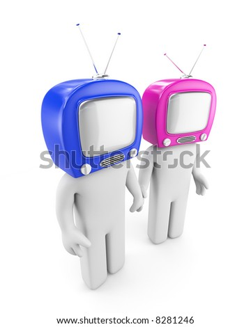 TV head people - symbolize man and woman. Relationship concept. - stock photo