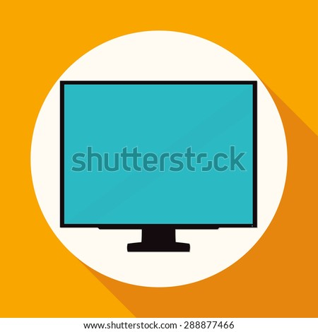TV icon on white circle with a long shadow - stock photo