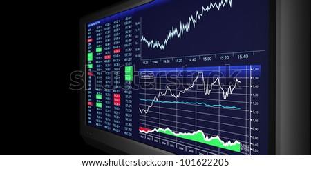 TV Illustration: business graphics on TV, the stock exchange trading