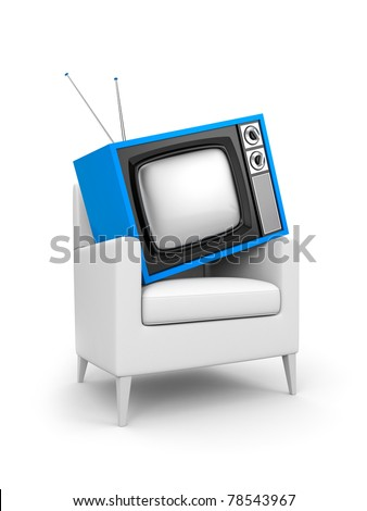 TV in chair - stock photo