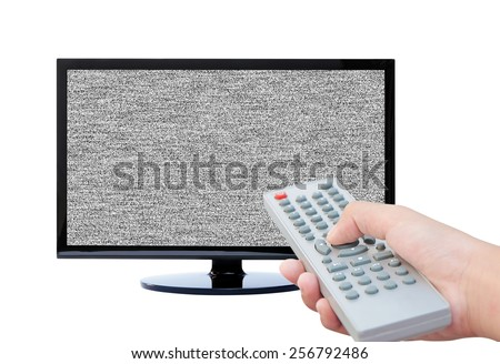 Tv no signal and remote control watching tv  - stock photo