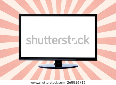 Tv on sun ray background , clipping path white area - stock photo