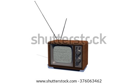 TV on white background - stock photo