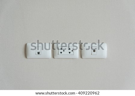 TV outlet ,  cable outlet and Electronic plug - stock photo