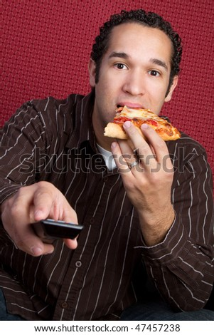TV Pizza Man - stock photo