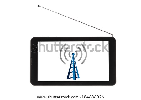 TV Receptor Tablet PC Isolated - Stock Image - stock photo
