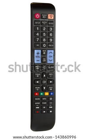 TV remote control isolated on a white background - stock photo