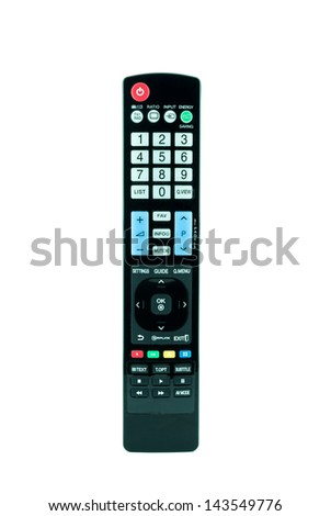 TV remote control isolated on white - Television remote control - stock photo
