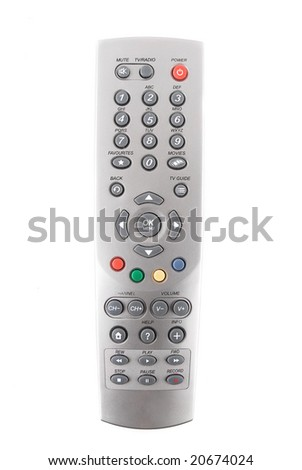 TV remote control isolated over white background - stock photo