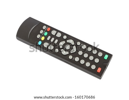 TV remote control on white background (with clipping path) - stock photo