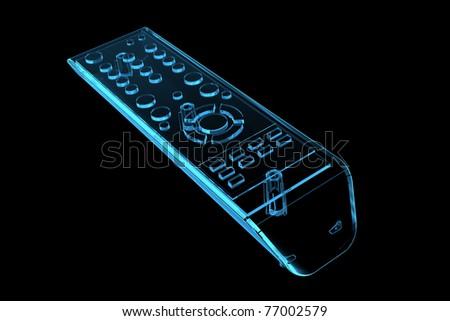 TV remote (3D xray blue transparent) - stock photo