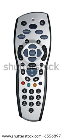 TV remote for digital interactive TV isolated on white - stock photo
