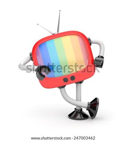 Tv robot - stock photo