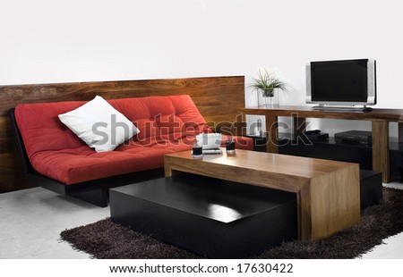 tv room with red sofa