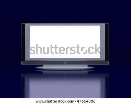 Tv screen on reflect floor. On dark blue background. Futuristic abstract picture