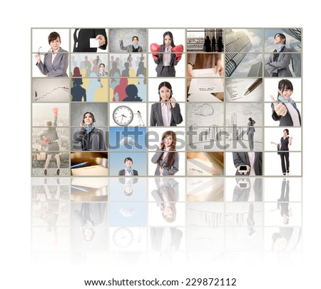 TV screen wall showing pictures of business concept by Asian business people. - stock photo